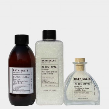 black petal bath salts toiletries for hospitality
