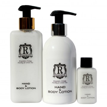 reserve hand and body lotion hotel toiletries